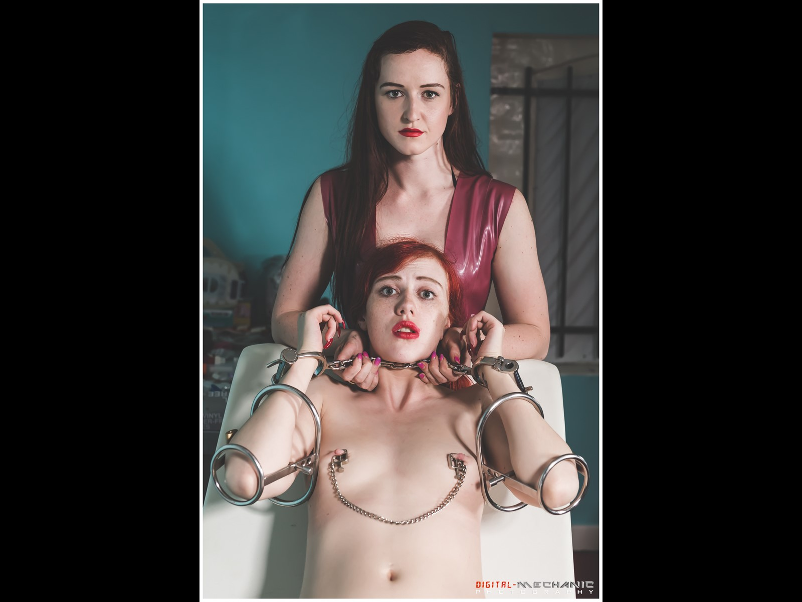 Elbow Restraints Medical Fetish Handcuffs shackles slave girl female patient