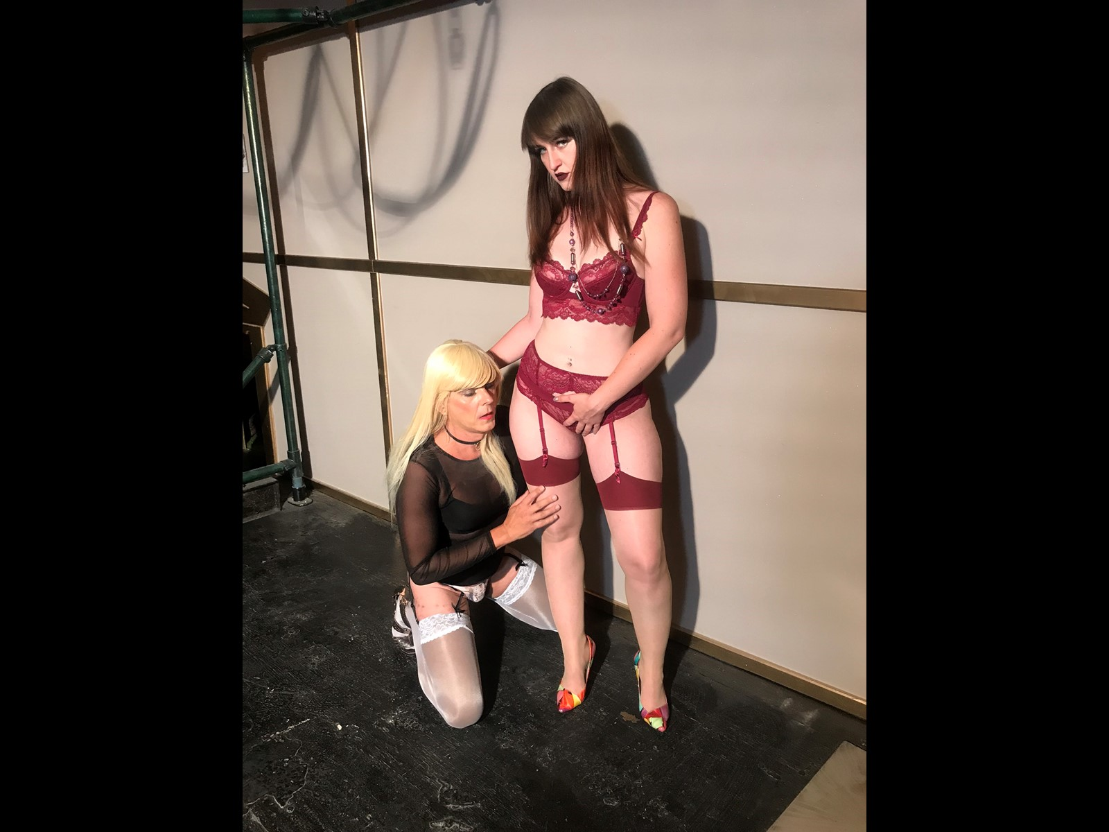 Playing with Kinky Lady Clara in lingerie and stockings - blonde and brunette