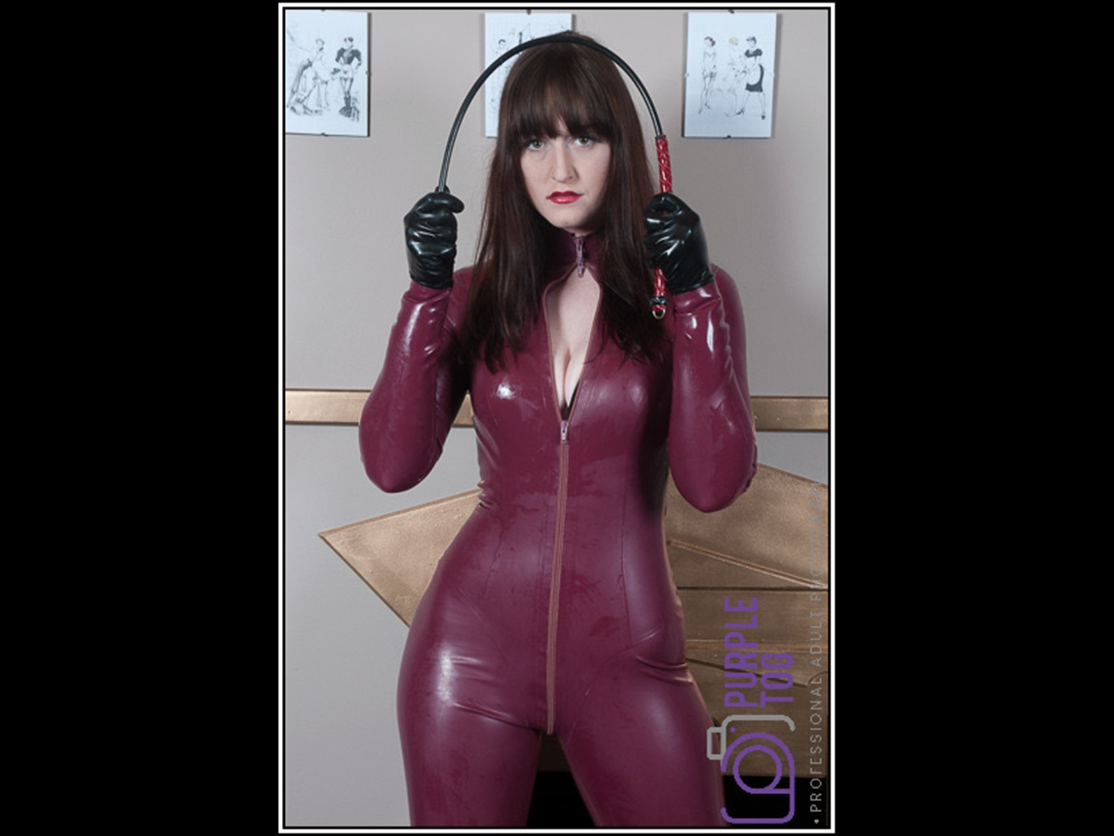 I can bend this cane right around your arse cheeks. Latex Catsuit - Shiny - Gummi