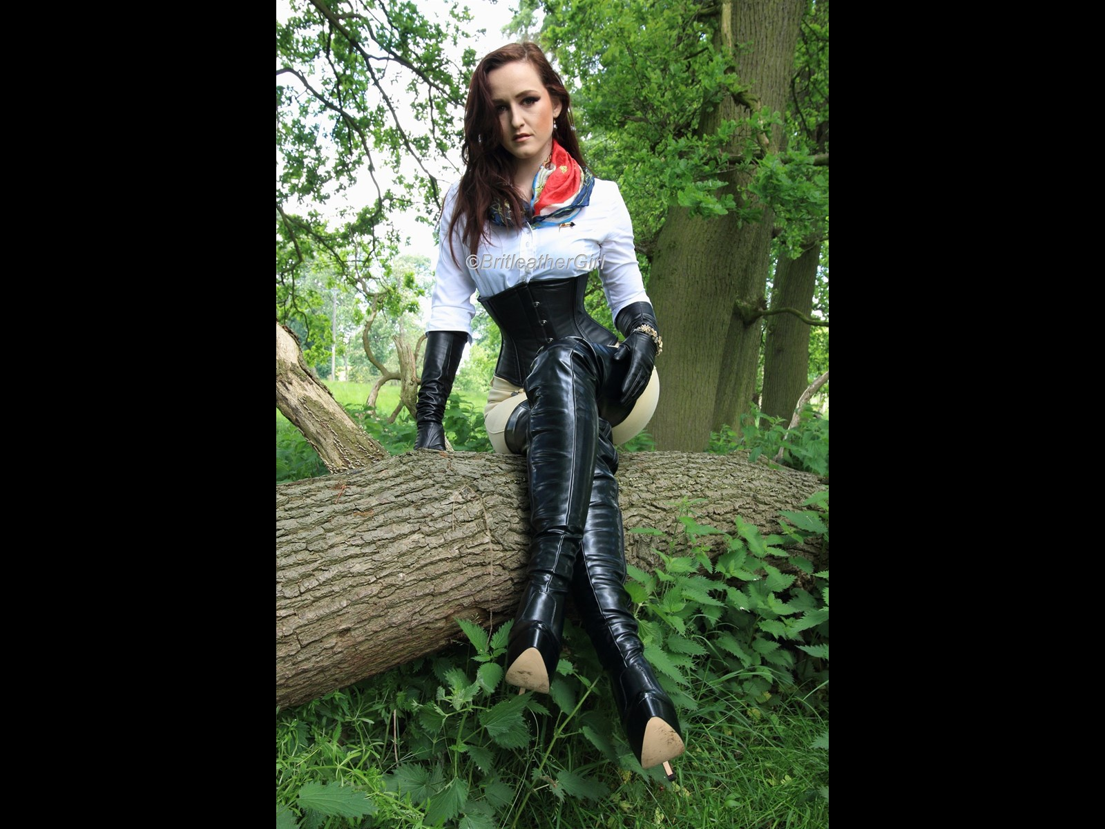 Shooting Outdoors in Leather Gloves and Boots and White Blouse and Jodhpurs for BritLeatherGirl