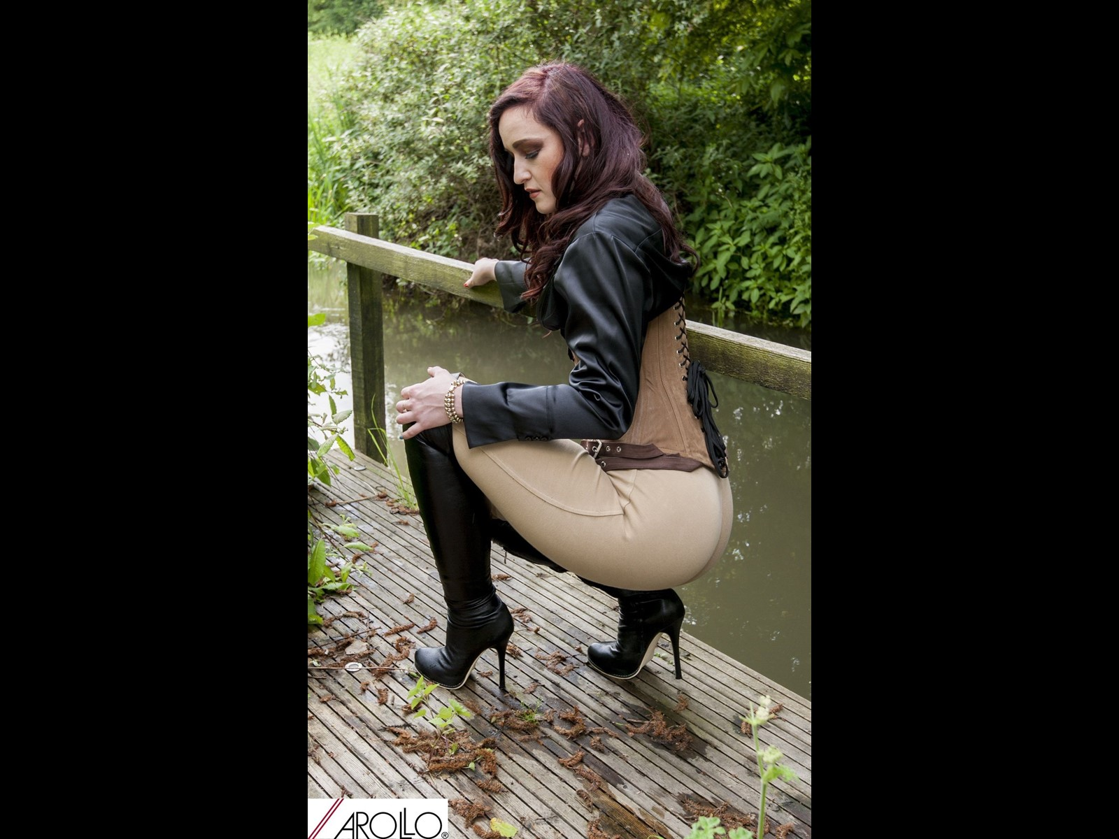 Arollo Boots by the River in a Suede Steel Boned Corset and Jodhpurs