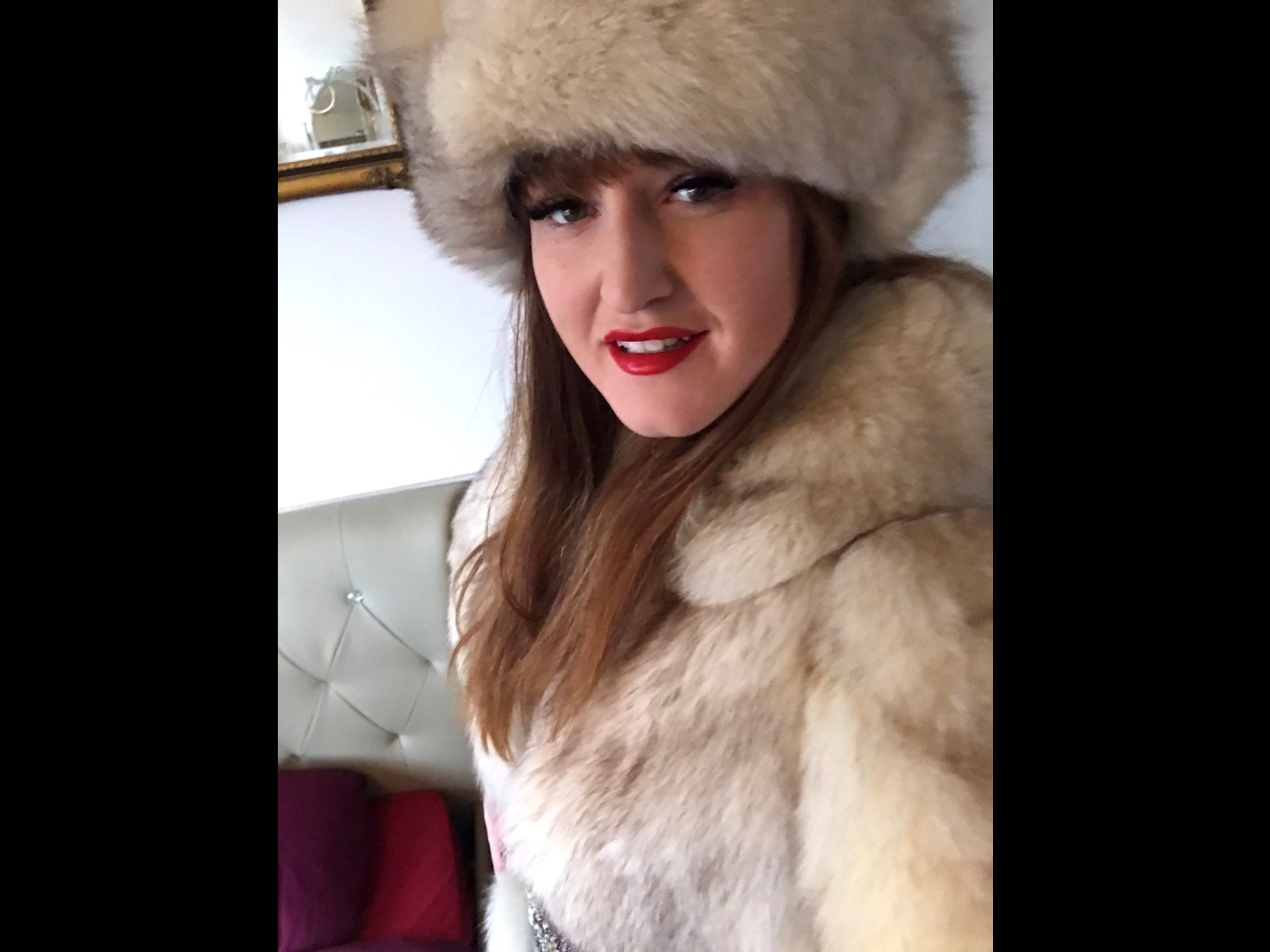 arctic fox fur hat and coat winter ice queen mistress Domina